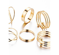 2016 New Punk Style Alloy 6 pcs/set Stacked Ring Copper Ring Set Daily / Casual 1set