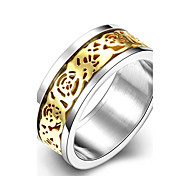 Individual Fashion Men's Carved  Gold Plated Titanium Steel Statement Rings(Golden)(1Pc)