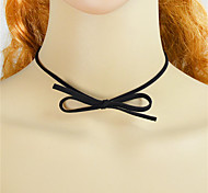 Black Pu Leather Chain Choker Necklace