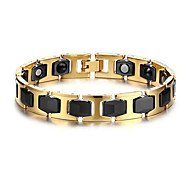 Men's Luxury Jewelry Health Care Gold Stainless Steel Magnet Bracelet