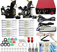 Kit Completo profissional máquina de tatuagem 2 arma 3pcs dicas apertos agulha poder fornecer tinta