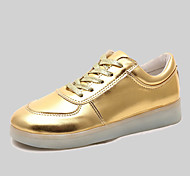 Women's / Men's Spring / Summer / Fall Round Toe Leatherette Outdoor / Casual / Athletic Flat Heel Lace-up Silver / Gold