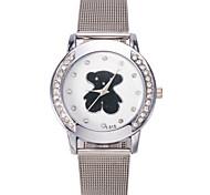 Women/Men's Silver Stainless Steel Band Analog Bear Case  Wrist Watch Jewelry