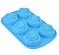 Rose Muffin Sweet Candy Jelly Silicone Fondant Cake Mold Baking Pan Tray Random Color