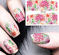 Fashion Printing Pattern Water Transfer Printing  Flowers Nail Stickers