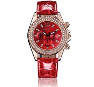 GACARNY 6833 Ladies' Fashion Diamond Case PU Leather Band Analog Quartz Wrist Dress Watch (Assorted Color)