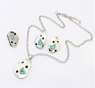 Women European Style Fashion Cute Rhinestone Necklace Earring Ring Sets