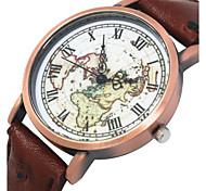 Women/Men's Fabric Denim Band Analog World Map Case  Wrist Watch Jewelry