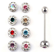 12PCS/set Stainless Steel Tongue Piercing Ring Body Jewelry Random Color