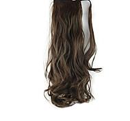 lunghezza riccioli castani parrucca ponytail 60 centimetri sintetico onda del corpo ad alta temperatura del filo di colore 2/30