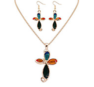 Women European Style Fashion Colorful Flowers Necklace Earring Set