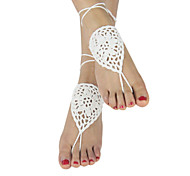 Women's Ivory Crochet Barefoot Sandals Nude Shoes Foot Jewelry Bridesmaid Shoes Anklet