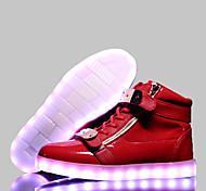 Calçados Femininos-Tênis Social-Conforto-Rasteiro-Preto / Azul / Vermelho / Branco-Couro-Casual / Para Esporte