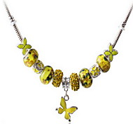 Yellow DIY Beads Strand Necklace with Flower Print Butterfly Pendant Fine Jewelry