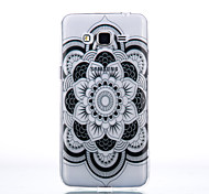 Transparent Black Lace Flowers Slim TPU Phone Case for Samsung Galaxy G530/G360