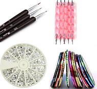 Nail Kit includes 30 Striping tape & 12 Silver Rhinestones & Dotting Pen set & Brush Set