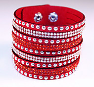 Fashion Classic Vintage Rivet Rhinestone Leather Bracelets for women Christmas Gifts