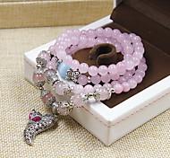 Natural Stone Gem Strand Bracelet with Fox Pendant