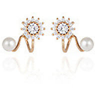 Women's Fashion Simple Diamond Pearl Silver Earrings