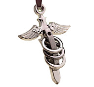 Titanium Steel Vintage Cross Necklace with a Hide Rope--Wing-shped Cross with Three Rings