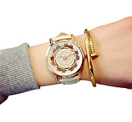 Fashion Quartz Casual Harajuku PU Belt Round Alloy Dial Couple's Wrist Watches Cool Watches Unique Watches