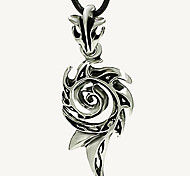 Men'S Titanium Steel Skeleton Necklace, Stainless Steel Pendant - Flame Spiral Silver Leather Cord Necklace