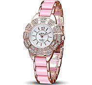 Women's Fashion Sparkle Pink Alloy Band Quartz Watch