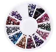 12 colori di resina 1,5 millimetri nail art strass 1 tavolozza