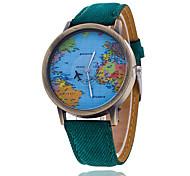 Masculino Relógio de Pulso Relógio Casual Quartzo Tecido Banda Padrão Mapa do Mundo Preta Branco