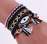 New Fashion Native Style Boheme Tassel Evil Eye Weave Leather Alloy Buckle Bracelet Bangle
