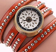 Women's Skeleton Watch Fashion Watch Casual Watch Quartz Leather Band Sparkle Charm CoolBlack White Blue Red Orange Brown Green