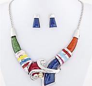 Women's European Style Fashion Simple Geometric Metal Necklace Earrings Set