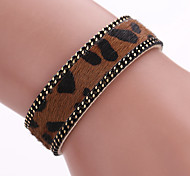 Brazil's Latest Leopard Grain Leather Bracelet With Single Mixed Ethnic Wind Horse Magnetic Buckle Bracelet