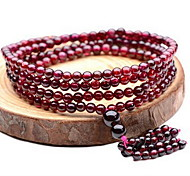 Wine Red Beads Strand Bracelet