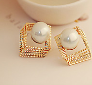 Golden Silver Square Shape Pearl Rhinestone Stud Earrings for OL Lady
