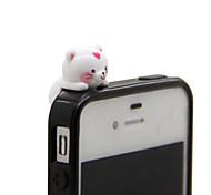 Cat White Mobile Phone Dust Plug