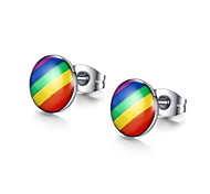 Stud Earrings Stainless Steel Fashion Round Silver Jewelry Daily Casual 1 pair