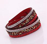 Hot Drill Bangle Handmade Rivet Velvet Bracelet Bling Rhinestone Wrap Leather Bracelet