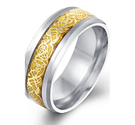 Antique Finishing Band Stainless Steel Ring Vintage Ring Style Luxury Ring for Men Gold Silver Plated