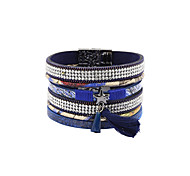 Fashion Women Multi Rows Stone Set Star Tassel Leather Bracelet