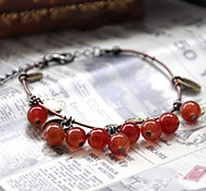 Fashionable Dark Red 19cm Round Strand Bracelets