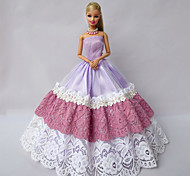 Party/Evening Dresses For Barbie Doll Light Purple Lace / Patchwork Dresses For Girl's Doll Toy