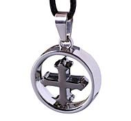 панк с крестом ожерелье, крест петли мужчины ключицы пильной цепи -The