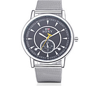 Men's Silver Steel Band Black Case Dress Watch Jewelry
