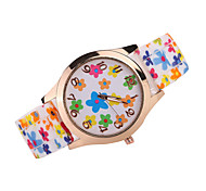 Women's Colorful Flower Case Silicone Band Analog Quartz Watch