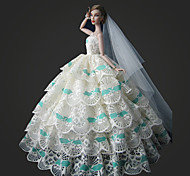 Barbie Doll White Wedding Dress with Long Veil Jasmine's Wedding