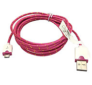 3M 10ft Fabric Braided Woven Micro USB Charging Cable Data Sync Cord for Samsung HTC Sony Phones (Rose)
