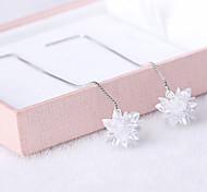2016 Korean Women 925 Silver Sterling Silver Jewelry Long Crystal Flower Earrings Drop Earrings 1Pair