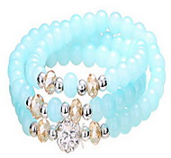 White/Blue Natural Crystal Beads Strand Bracelet(55cm)