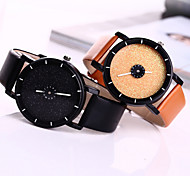 Couple's Watch Fashion Star Shimmering Powder Case Colorful Leather Band Watch for Women Men Wrist Watch